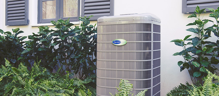 A newly installed Carrier air conditioner
