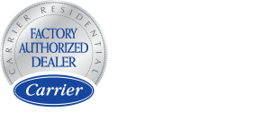 Carrier Factory Authorized Dealer logo and the Carrier 2019 president's award logo