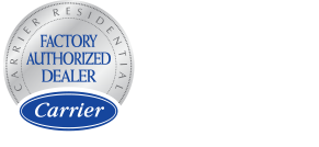 Carrier Factory Authorized Dealer logo and the Carrier 2020 president's award logo