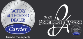 Carrier Factory Authorized Dealer logo and the Carrier 2021 president's award logo